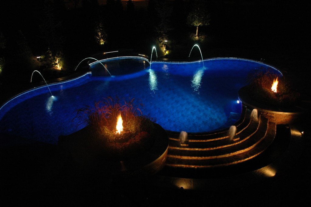 BURTON backlit deck jets swimming pool at night dsc_7671